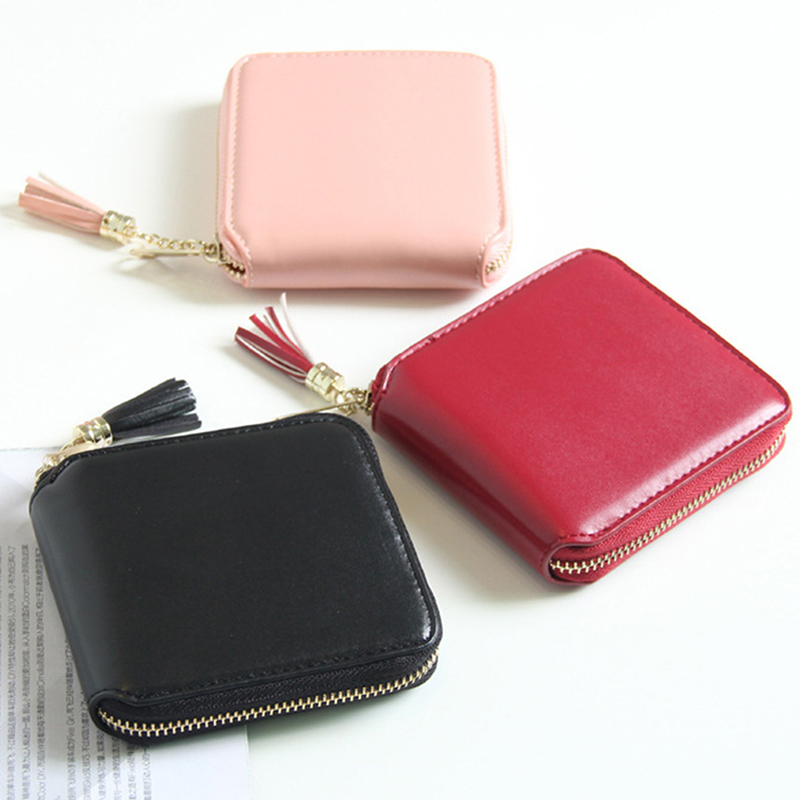 New Korean Women 39 S Wallet Solid Color Tassel Pendant Short Wallet in Money Clips from Luggage amp Bags