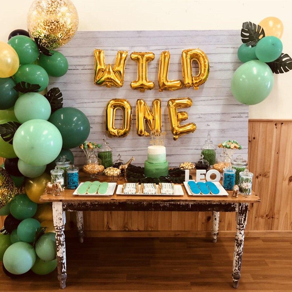 1 juego 16 pulgadas oro rosa salvaje uno/uno globo de aluminio Baby Shower 1ª decoración de fiesta de cumpleaños Globos niños de un año de edad Globos