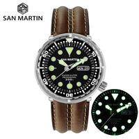 San Martin Tuna SBBN015 Diver Men Automatic Watch Stainless Steel Sapphire Calendar Week Ceramic Bezel Sunray Dial Luminous
