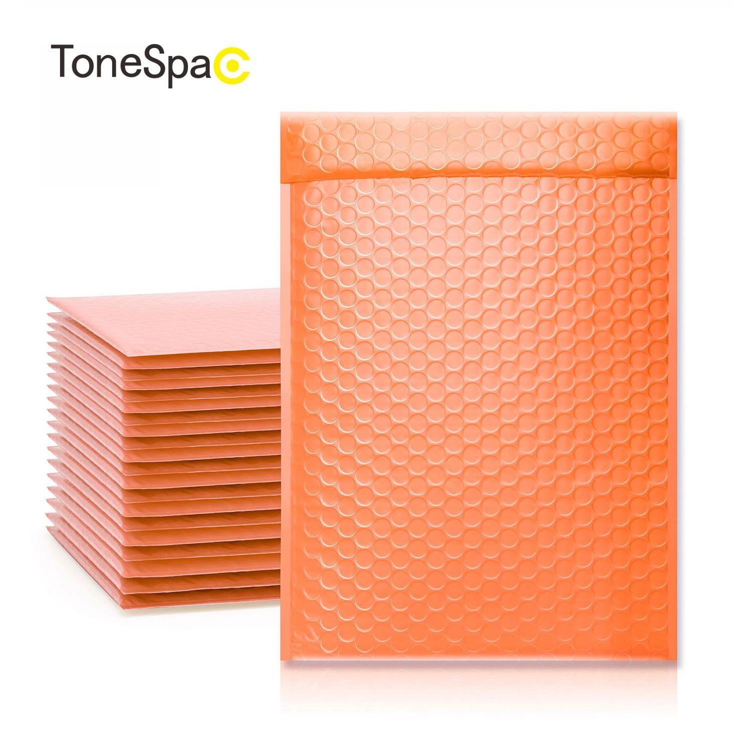 TONESPAC 260*320mm 25pcs Self Seal Shipping Envelope Packaging Poly Bubble Padded Mailer Waterproof Express Packaging Orange
