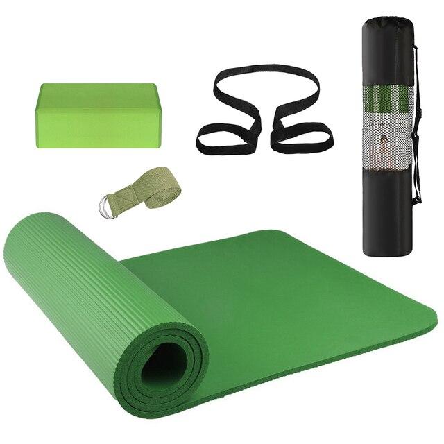 3 قطعة مجموعة معدات اليوغا اليوغا حصيرة مكعبات اليوغا تمتد حزام اليوغا المبتدئين اللياقة البدنية ممارسة مجموعة مع حصيرة كيس التخزين وحزام
