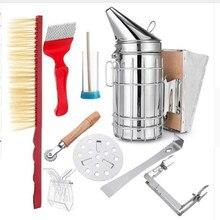 Kit de fumador de colmena de abejas de acero inoxidable, protección contra el calor, rascador, herramientas, accesorios de apicultura 8 en 1