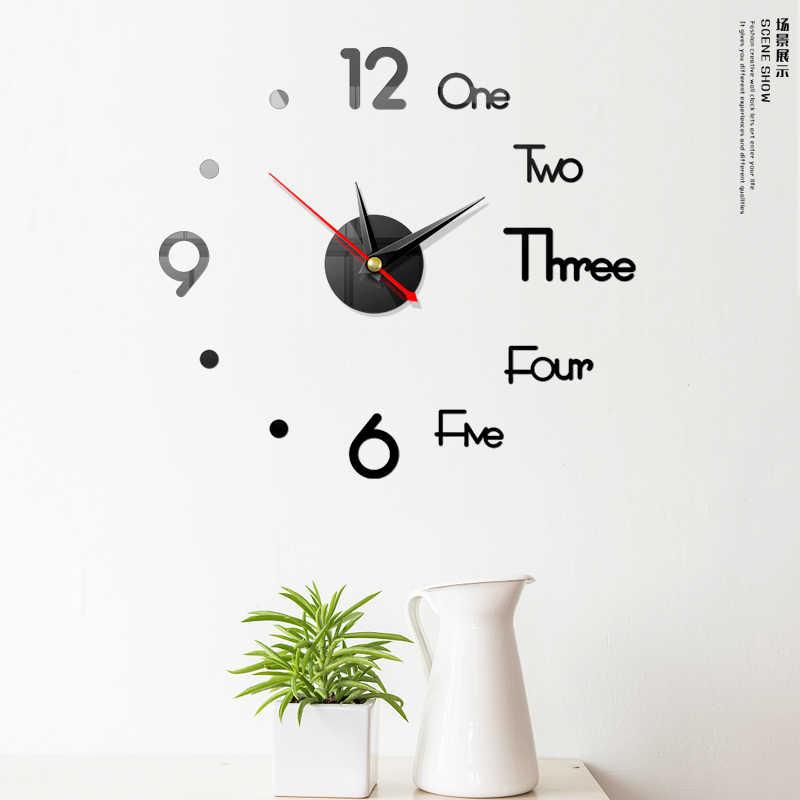 Diy 3d criativo relógio acrílico espelho adesivos de parede relógio sala estar quartzo agulha horloge decoração da sua casa wallclock
