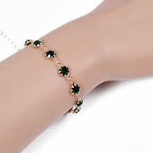 Lovely Round Cubic Zircon Crystal Silver Color Royal Jewellry Green CZ Stone Tennis Bracelets for Women