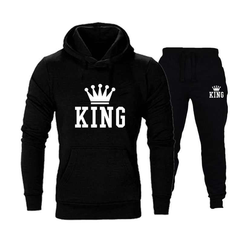 New King Queen Leeter Printed Couple Set Men And Women Hoodie Suit Autumn Winter Pullover + Sweatpant 2 Pcs/Set