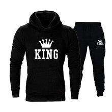 New King Queen Leeter Printed Couple Set Men and Women Hoodie Suit Autumn Winter Pullover + Sweatpant 2 pcs/Set