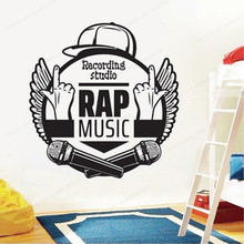 Rap Music Wall Stickers Recording studio wall decal music studio wall decor home removable poster JH402 цена 2017