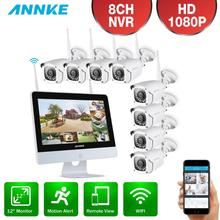 ANNKE 8CH 1080P FHD WiFi Wireless Video Security System 12inch LCD Screen NVR 2MP 4X 8X IP Cameras Outdoor CCTV Surveillance Kit