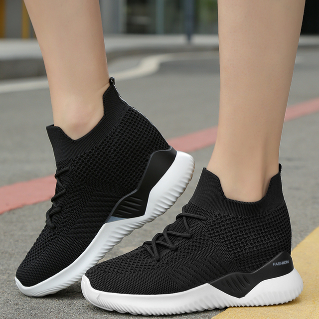 Women Breathable Ultra Sneakers High Top Elastic Socks Pink White Shoes
