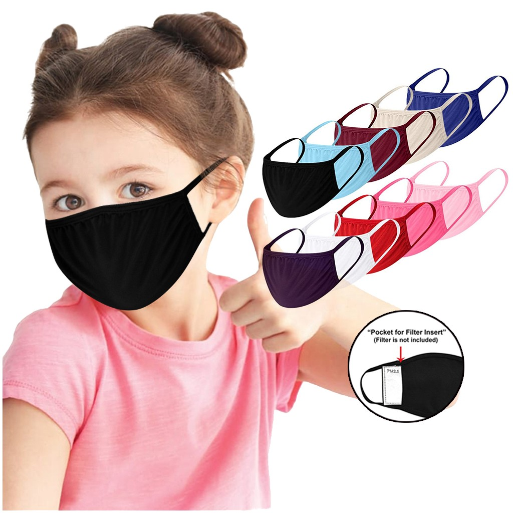 Mask Washable Kids Cotton Mutiple-Protection 1pc -Y10 FILTERS Solid-Color