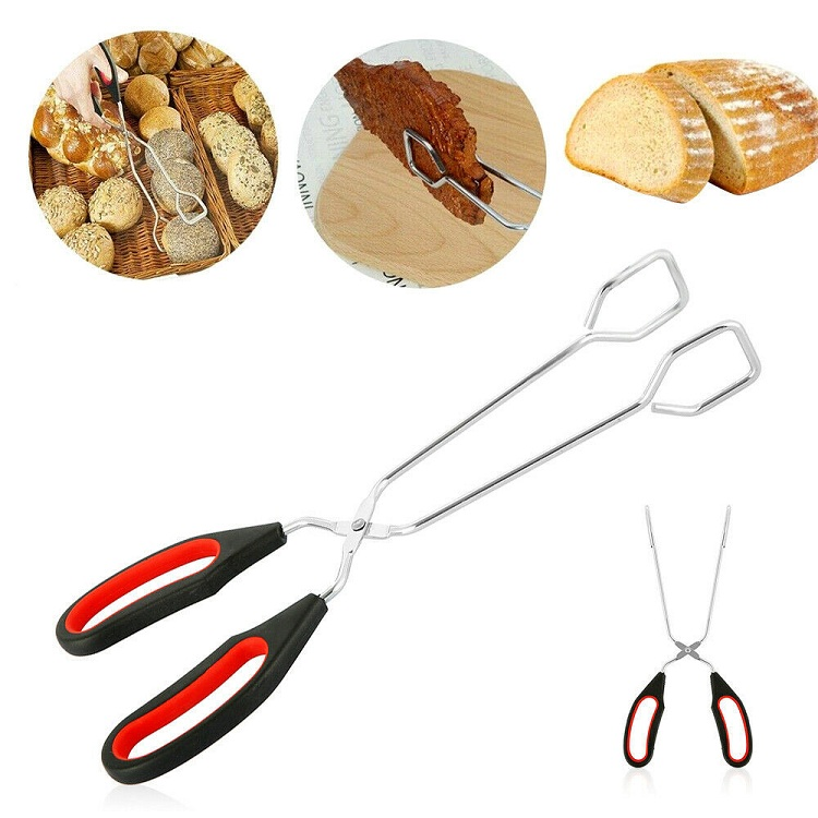 1x Scissor Shaped Food Tongs Kitchen Cooking Bread Serving Clamp BBQ Buffet Clip