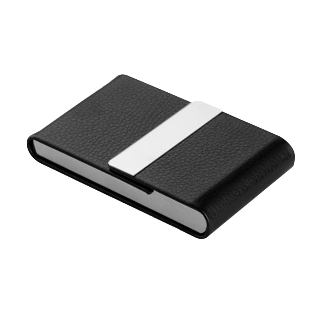 Black Portable Upscale Ultrathin Luxury Imitation Leather Stainless Steel Pocket Carrying Business Card Cigarette Case