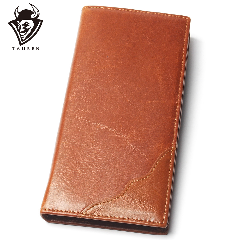 Men Fashion Lace Pattern Stitching Style Real Leather Long Wallet Men Thin Slim Card Holder Wallet Men's Bifold Purse
