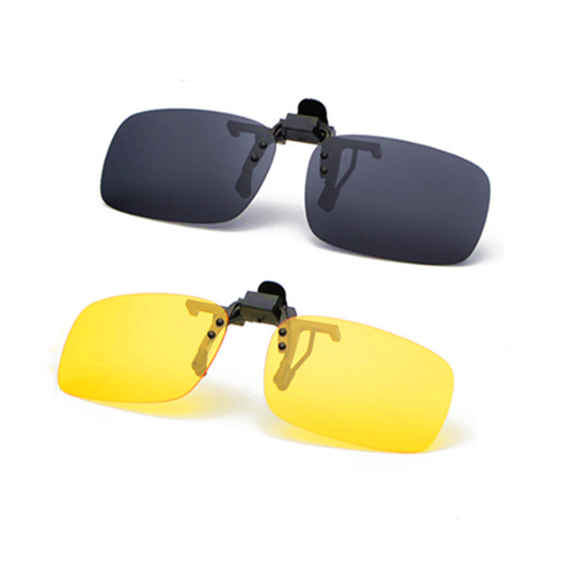 Fishing Use Sunglasses Eyewear Clip On Style Sunglasses UV400 Polarized Fishing Riding&Hiking Eyewear Day/Night Vision Glasses