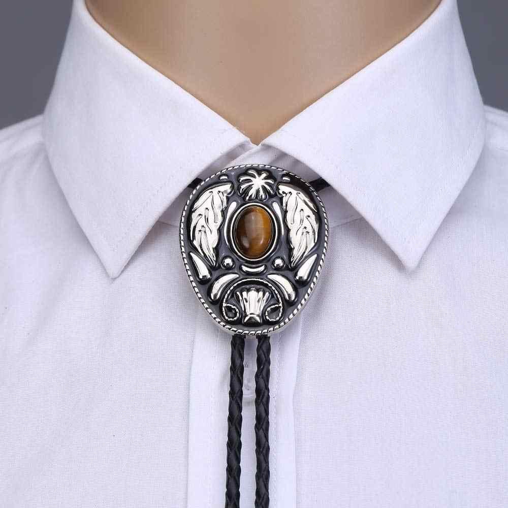Vintage batı yaprak kaplan gözü taş bolo kravat adam handmakde hint kovboy batı cowgirl deri halat çinko alaşımlı kravat