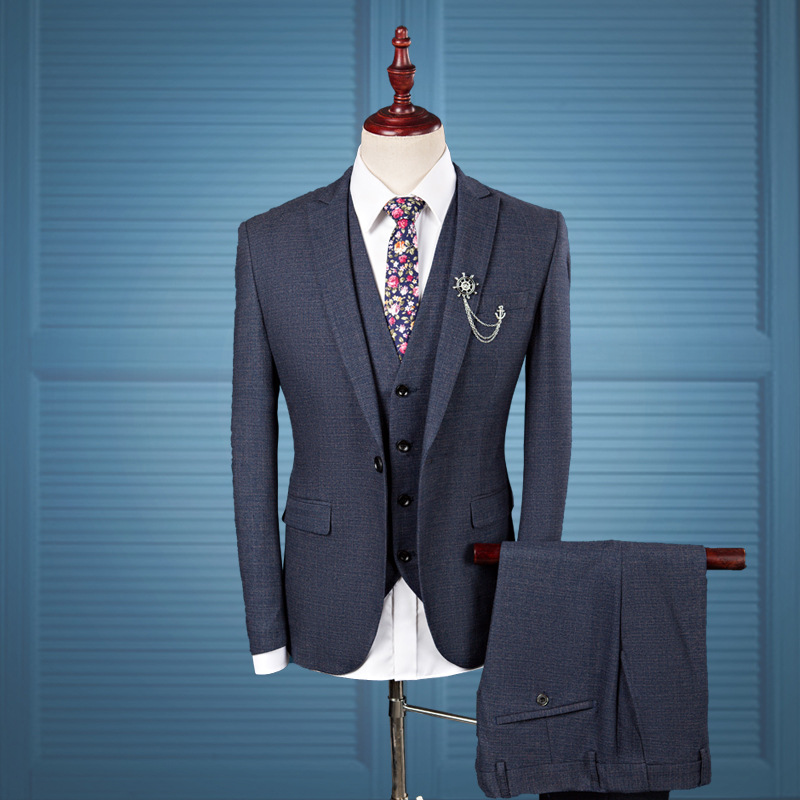 New Unique Design Men's Plus Size Blue Slim Blazer Set Brooch Chain Men's Fashion Groom Marriage Party Banquet Three-piece Suits