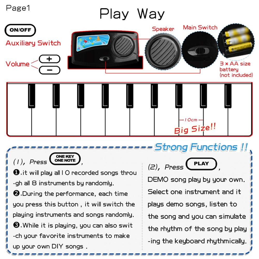 110x36cm Electronic Musical Mat Carpets Keyboard Baby Piano Play Mat Toy Musical Instrument Music Toys Educational Toys for Kids | Happy Baby Mama