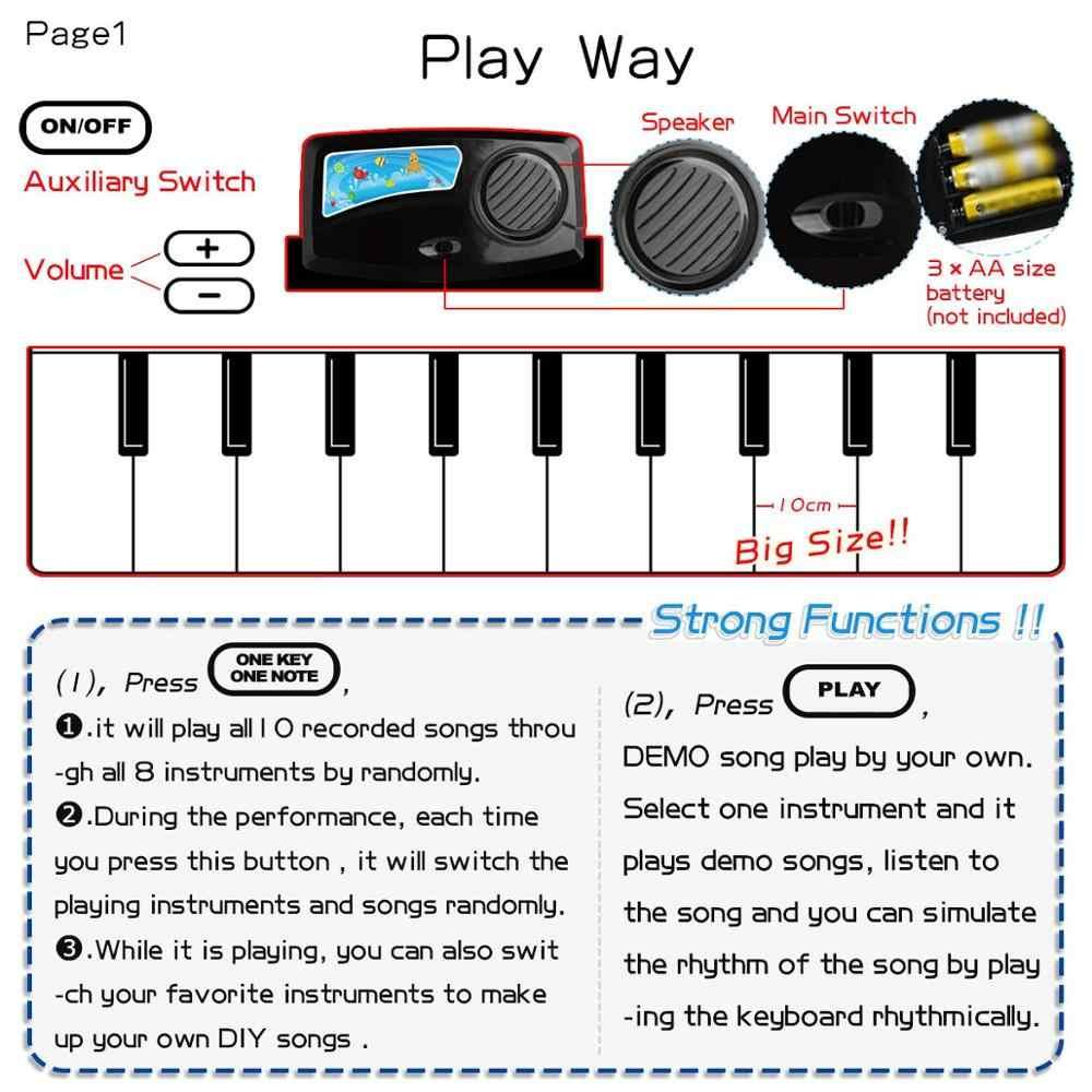 110x36cm elektronik müzik Mat halı klavye bebek piyano oyun matı oyuncak müzik aleti müzik oyuncaklar eğitici oyuncaklar çocuklar