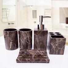 Европейский набор для мытья, Ванная Комната Из Мраморной смолы, 5 шт., высококачественный набор для ванной, держатель для чистки зубной щетки, бутылка для лосьона