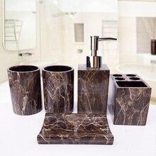 Châu Âu Rửa Bộ Đá Cẩm Thạch Nhựa Nhà Tắm 5 Món Cao Cấp Phòng Tắm Bộ Nhà Tắm Đánh Răng Đựng Bàn Chải Đánh Răng Lotion Bình