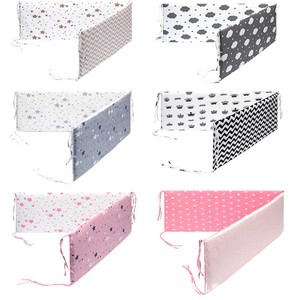 Print Baby Bed Bumper Double-faced Detachable Newborn Crib Around Cot Protector Kids Room Decor