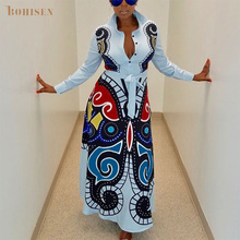 BOHISEN Dashiki African Dresses For Women Venetian Plus Size Bazin Ankara Riche Slim Print Clothes