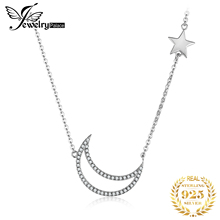 JewelryPalace Moon Star Sterling Silver Pendant Necklace 925 Chain Choker Statement Collar Women 45cm