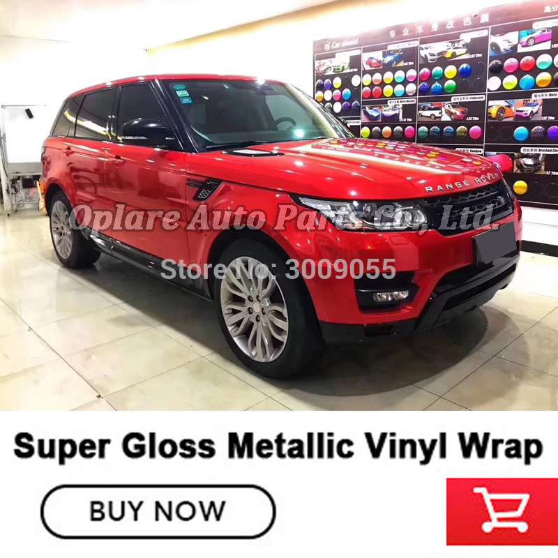 High end series Wrapping vinyl super Gloss metallic vinyl flame Red wrapping film low initial tack adhesive image