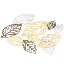 100pcs Craft Hollow Leaves Pendant Gold Charm Filigree Jewelry Making Plated Vintage DIY Necklace Silver