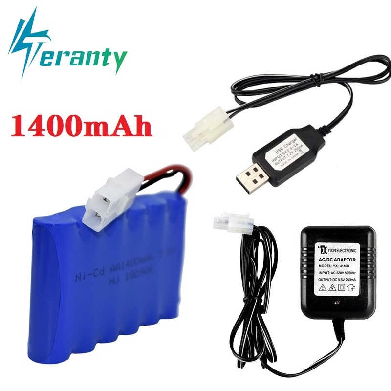 Upgrade 7.2v 1400mah NiCD Battery + charger For Rc Toys Cars Tanks Trucks Robot Gun Boat AA Ni-CD 7.2v Rechargeable Battery Pack