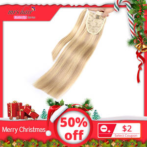 Hair-Ponytail Remy-Hairpieces Human-Hair Straight Clip-In MRS 14--18-Black/blonde-Machine