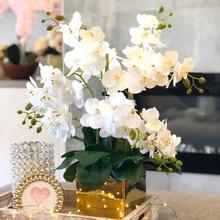 Шелковый искусственная Орхидея Бабочка искусственный букет цветов фаленопсис поддельные, украшенные цветами; Домашние туфли Свадебная де...