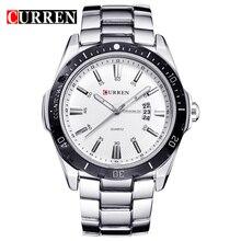 CURREN Mens Watches Top Brand Luxury Fashion Business Quartz Wristwatch Full Steel Band Date Waterproof relogio masculino