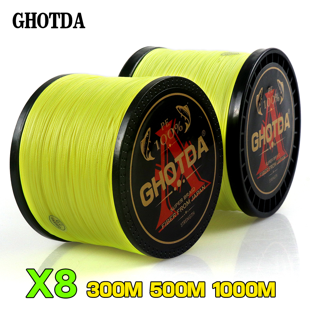 GHOTDA Braided Fishing Line 8 Strands Fluorescent Yellow 100M 150M 300M 500M 1000M Cord linha multifilamento 8 Fishing