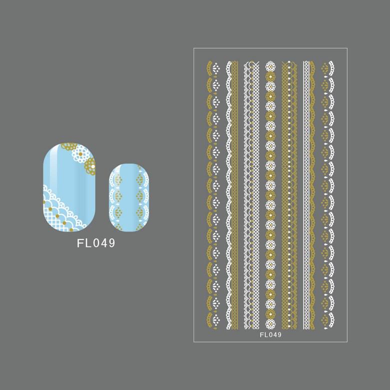 FL49-60 Black + Gold Japanese Korean Popular Nail Sticker Lace Edge Nail Sticker Factory Tmall Signature