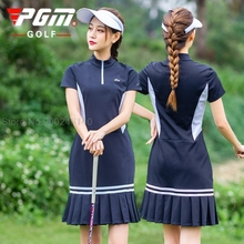Pgm Golf Dress Women's Sports Casual Skirt Summer Breathable Quick Dry Golf Shorts Skirts Ladies Short-Sleeve Golf Clothing