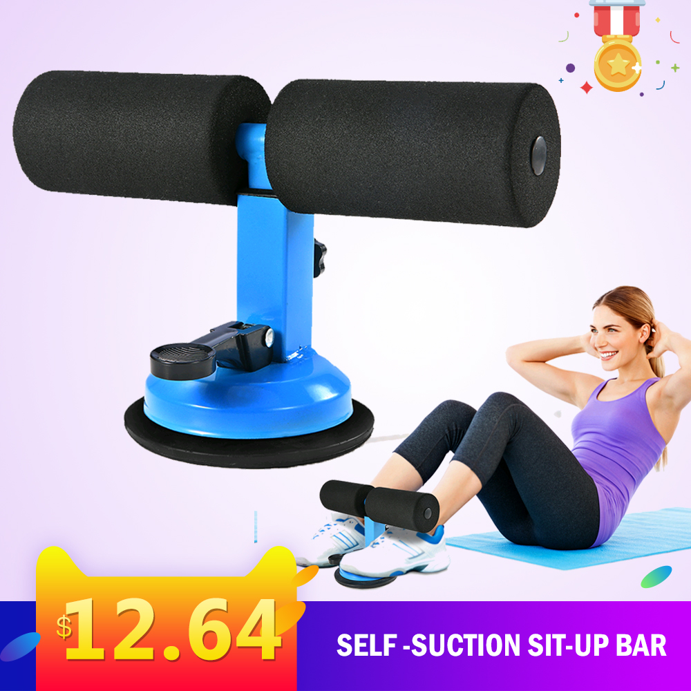 TOMSHOO Fitness Equipment Adjustable Self-Suction Sit Up Bars Abdominal Core Workout Strength Training ab Assist Home Sport image