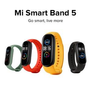 Image 5 - מקורי Xiaomi Mi Band 5 הגלובלי גרסה 9 שפות חכם Miband מסך צמיד קצב לב כושר ספורט Bluetooth צמיד