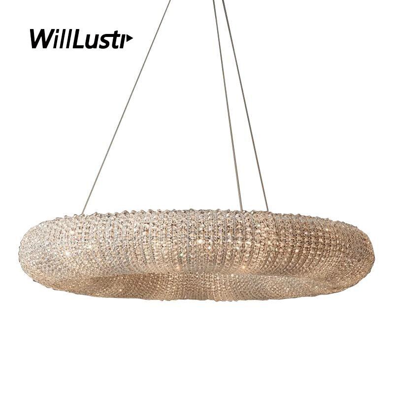 Luxury K9 Crystal Pendant Lamp Villa Sitting Room Hotel Hall Restaurant Mall Bedroom Modern Ring Chandelier Suspension Lighting
