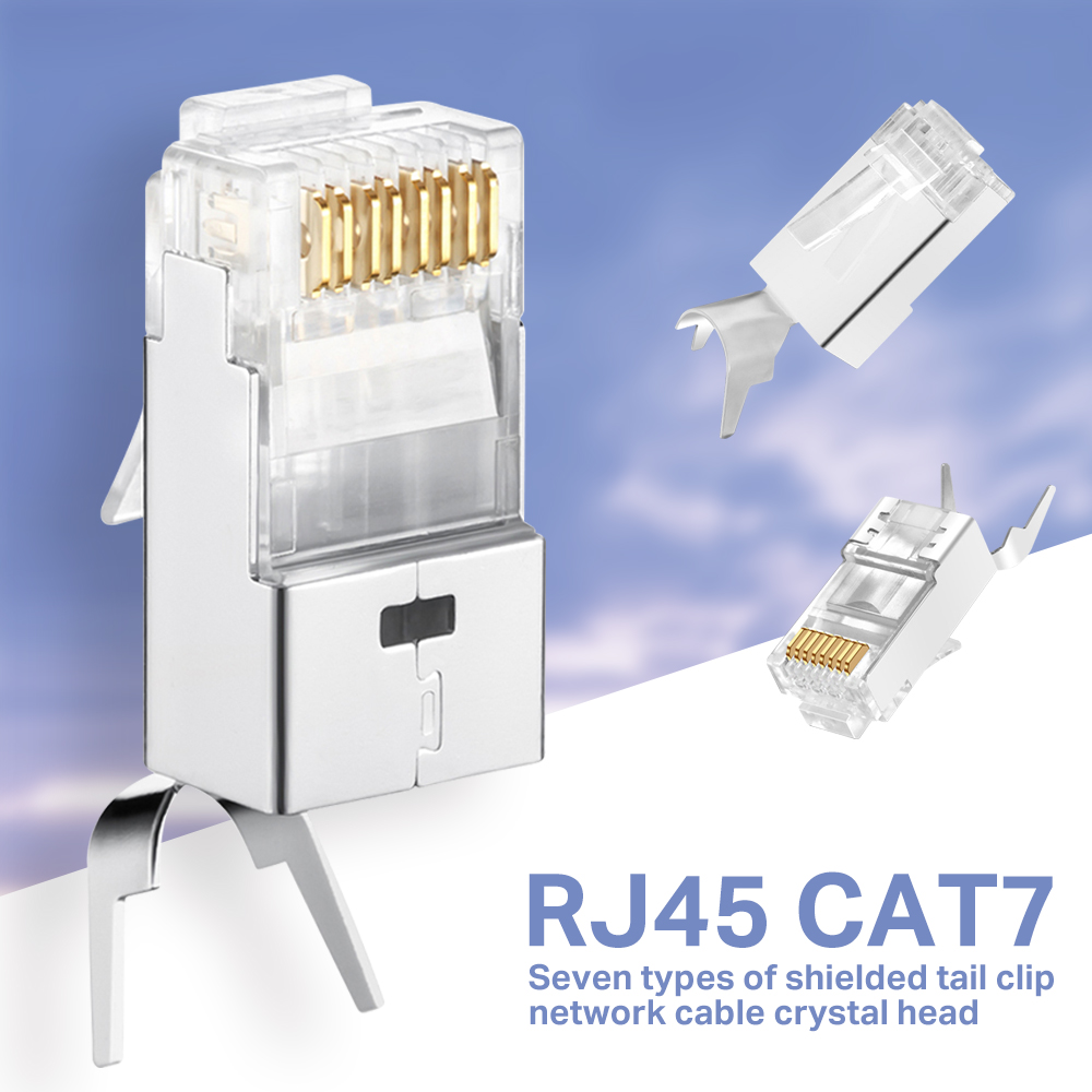 Cat7 RJ45 Connector Cat 7 Crystal Plug Shielded FTP RJ45 Modular Connectors Cat7 Network Ethernet Cable