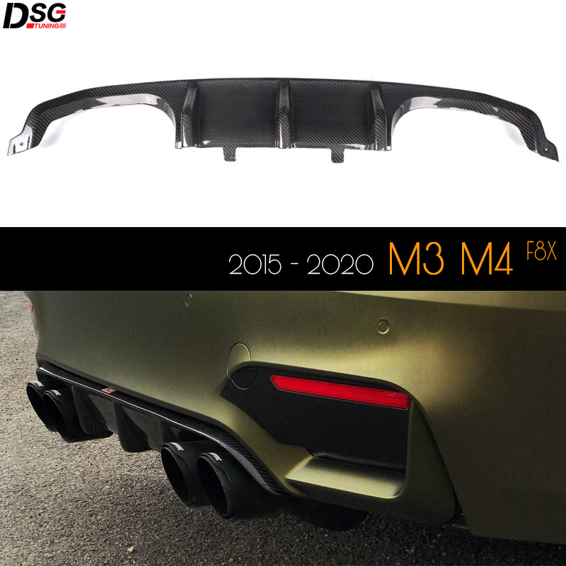 Carbon Fiber Rear Bumper Lower Lip Diffuser for BMW F80 F82 F83 2015 - 2020 M3 M4 image