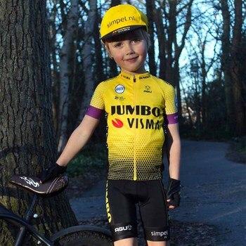 Niño Jumbo Visma equipo AGU Uifit 2020 Ciclismo Jersey traje niños camisas niño niña bicicleta conjunto Ciclismo chaqueta Bib Maillot bicicleta Kit