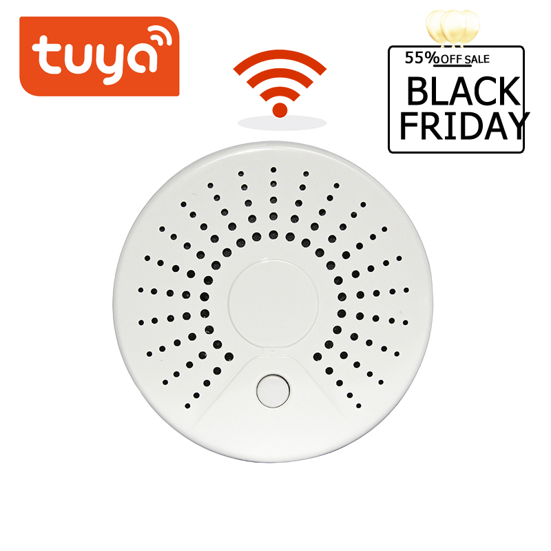 Tuya Wireless Security Alarm System Smoke Detector Smart Life Standalone WiFi Smoke Temperature Detector Sensor WiFi
