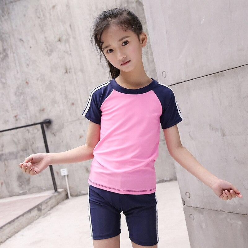 Korean-style KID'S Swimwear Big Boy Students Pink Joint Solid Color Cute GIRL'S Hot Springs Split Type Swimwear