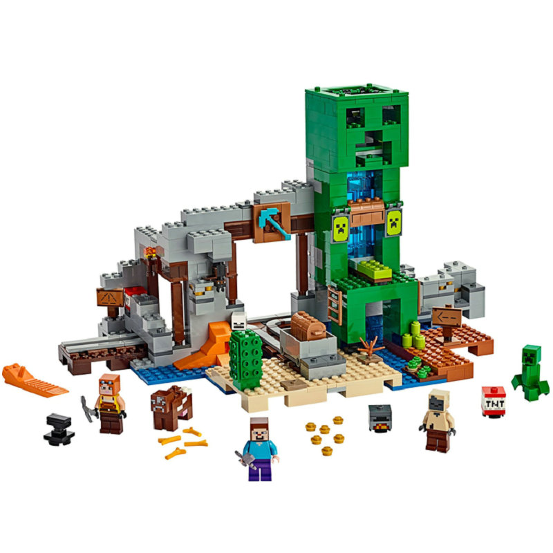 The Creepered Mine  Building Blocks With Steve Action Figures Compatible LegoINGlys MinecraftINGlys Sets Toys For Children 21155