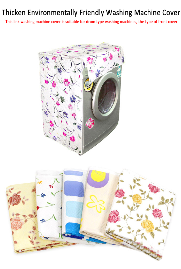 Washing Machine Covers front load household washing machine Dustproof covers Waterproof PVC Practical Floral Dust Cover image