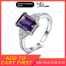 JewelryPalace 2.3ct Radiant Cut Created Alexandrite Sapphire Rings 925 Sterling Silver Cubic Zirconia Cocktail Engagement Rings jewelrypalace elegant 2 43ct created alexandrite sapphire cubic zirconia halo adjustable bracelets for women 925 sterling silver