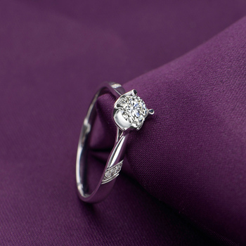 18K Gold Diamond  Platinum Engagement Ring