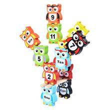 12 قطعة شكل البومة اللبنات مضحك لطيف خشبية التوازن لعبة لعبة التراص كتل للأطفال طفل أطفال