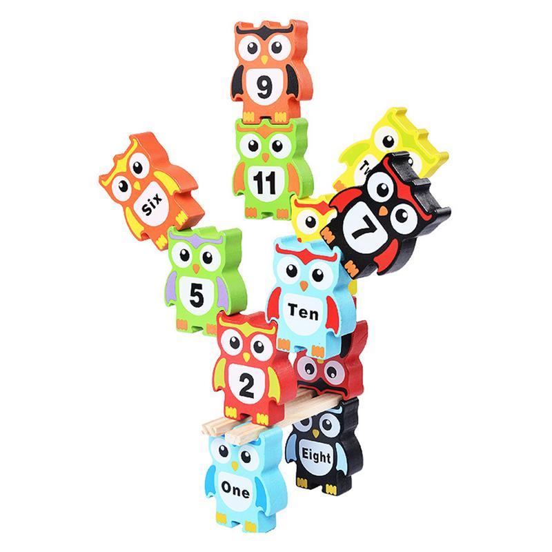12pcs Owl Shape Building Blocks Funny Cute Wooden Balance Game Toy Stacking Blocks For Toddler Children Kids